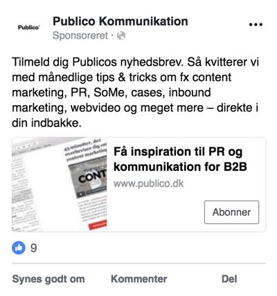 Eksempel på Facebook Lead Ad