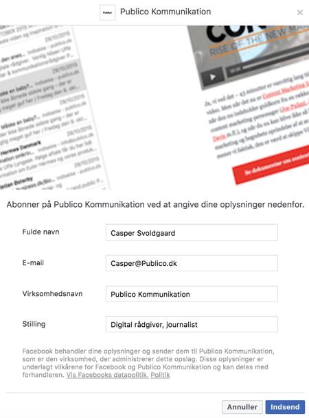 Eksempel på Facebook Lead Ad formular