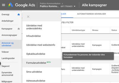 Formularudvidelse Google Ads