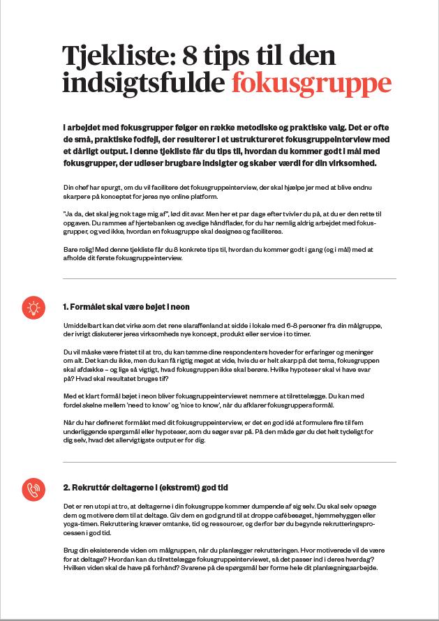 8 tips til den indsigtsfulde fokusgruppe